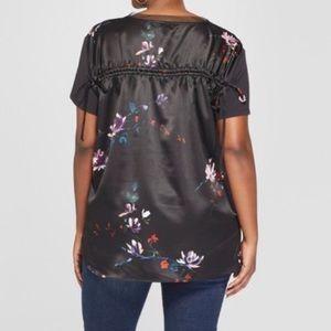 Ava & Viv Black Sheer Floral 3x 4x Blouse Tie Back